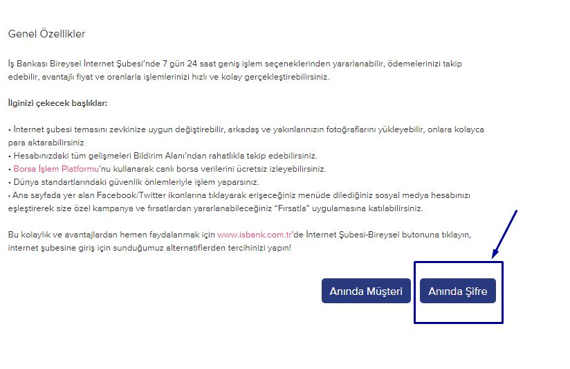 İş Bankası İnternet Bankacılığı Şifre Alma